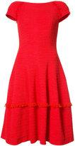 Talbot Runhof frayed trim dress - women - Cotton/Spandex/Elastane/Polyimide - 38