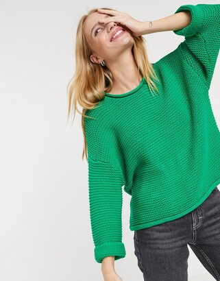 Selected camille 3/4 sleeve jumper in green