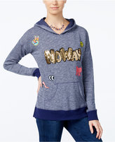 Miss Chievous Juniors' Sequin Graphic Pullover Hoodie