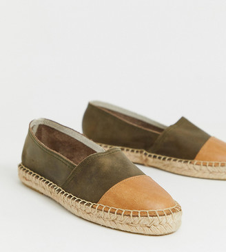 Solillas Exclusive khaki suede espadrilles with tan toe caps-Green