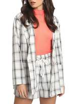 Approved By Me Plaid Button Down Blazer - Pink Black Medium