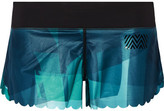 Monreal London Scalloped Printed Stretch-jersey Shorts - Teal