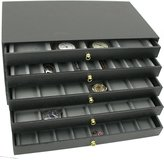FindingKing 5 Drawer Jewelry Organizer Storage Display Case Box