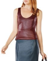 BCBGMAXAZRIA Cladiana Faux Leather Peplum Top