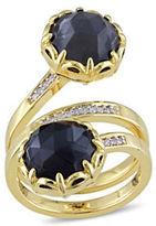 Catherine Malandrino 18K Goldplated 0.10TCW Diamond and Hematite Wrap Ring