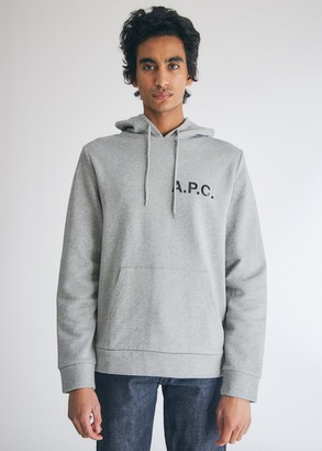 A.P.C. Men's Stamp Hoodie in Gris Chine, Size Small | 100% Cotton