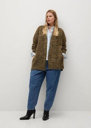 MANGO Flecked chunky-knit cardigan
