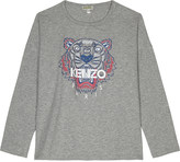 Kenzo Tiger print long-sleeved cotton top 4-16 years