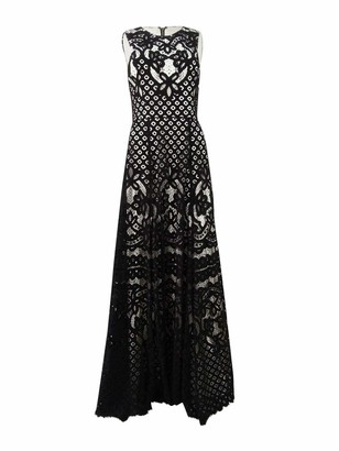 Vera Wang Women's Black Lace Over White Regency Lace