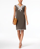 Alfani Soutache-Trim Shift Dress, Only at Macy's