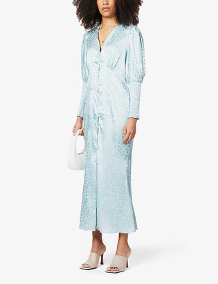 NEVER FULLY DRESSED Lindos leopard print satin maxi dress