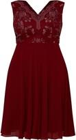 Evans **Chi Chi Curve Burgundy Thalia Dress