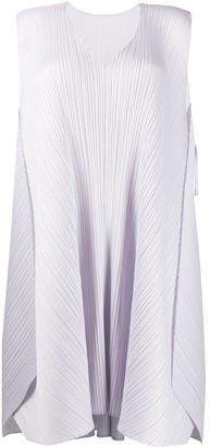 Pleats Please Issey Miyake Draped V-Neck Dress