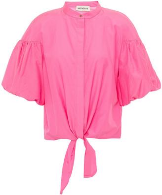 Nicholas Tie-front Cotton And Silk-blend Blouse