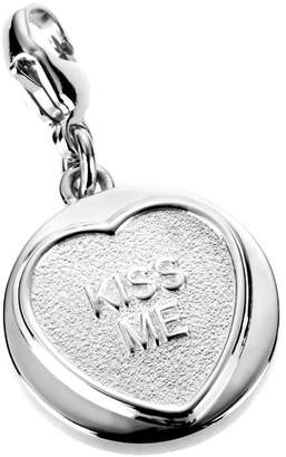 Love Hearts Sterling Silver Classic 'KISS ME' Charm (to fit B635 charm bracelet)