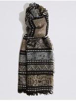 M&S Collection Cotton Rich Jacquard Stripe Scarf