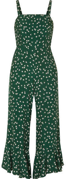 Faithfull The Brand Lea Cropped Ruffled Floral-print Crepe De Chine Jumpsuit - Dark green