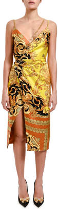 Versace Greca Chain Trim Silk Cocktail Dress