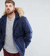 Asos Plus Parka Jacket With Faux Fur Trim In Navy