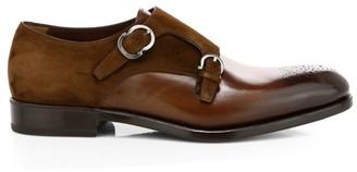 Salvatore Ferragamo Brighton Double Monk Strap Leather Dress Shoes