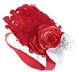 So Beauty Baby-girls Red Feather with White Bow Headband Hairband