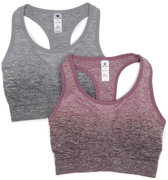 90 Degree By Reflex Ombre Heathered Knit Seamless Sports Bra - Pack of 2