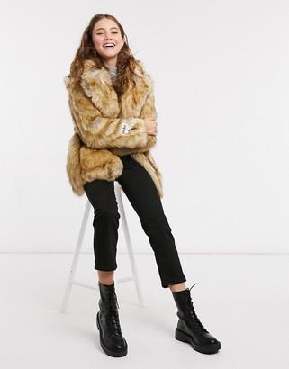 Jakke heather mid-length coat in faux brushed fur