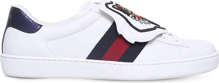 Gucci New Ace cat patch leather trainers