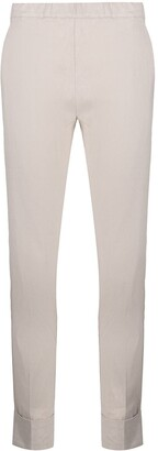D-Exterior Turn-Up Hem Slim-Cut Trousers