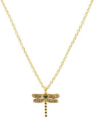 Latelita Diamond & Emerald Dragon Fly Necklace Gold