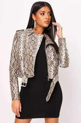 I SAW IT FIRST SNAKE Print Faux Leather BIKER JACKET