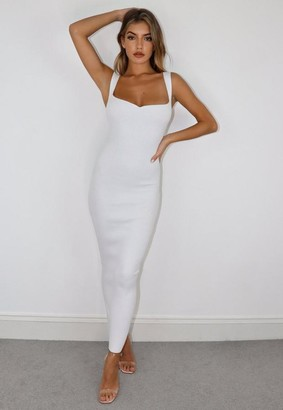 Missguided White Sweetheart Neck Knit Maxi Dress