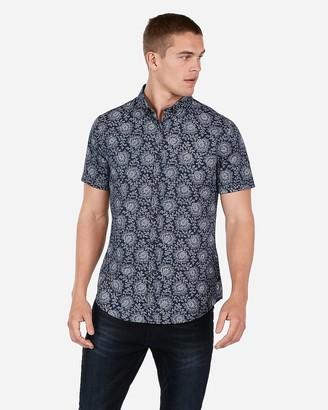 Express Slim Geometric Wrinkle-Resistant Short Sleeve Performance Shirt