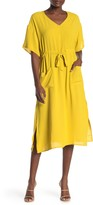 GOOD LUCK GEM Short Sleeve Drawstring Waist Midi Dress