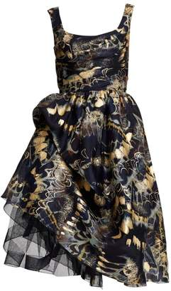 Marchesa Foil Printed Gathered Tulle Silk Cocktail Dress
