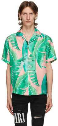 Amiri Pink and Green Silk Banana Leaves Pyjama Short Sleeve Shirt