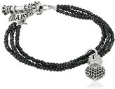King Baby Studio 3 Strand Black Spinel Bracelet with Pave Black Cubic-Zirconia Crowned Heart