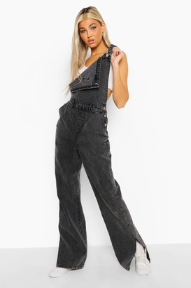 boohoo Tall Acid Wash Split Hem Dungaree