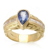 Judith Ripka 18K Yellow Gold Diamond Sapphire Ring