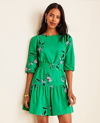 Ann Taylor Petite Floral Belted Flounce Shift Dress