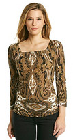 MICHAEL Michael Kors Drapeneck Scroll Print Top