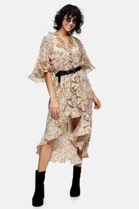 Topshop Womens Idol Printed Lace Insert Shirt Dress - Multi
