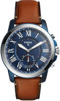 Fossil Q Men's Grant Brown Leather Strap Hybrid Smart Watch 44mm