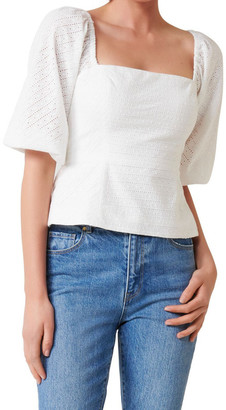 Forever New Nadia Cheveron Square Neck Broderie Blouse