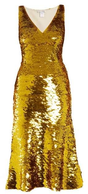 Oscar de la Renta V Neck Sequin Embellished Silk Blend Dress - Womens - Gold
