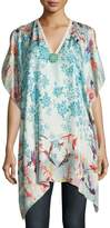 Johnny Was Hummingbird Silk Printed Poncho, Plus Size