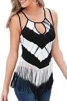 YACUN Women's Sleeveless Halter Stripes Tassels T-Shirt Tops L