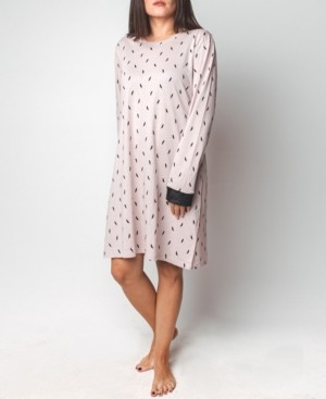 Mood Pajamas Feather Print Long-Sleeve Sleepshirt, Online Only