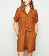 New Look Revere Collar Utility Playsuit