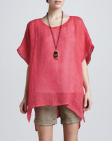 Eileen Fisher Striped Linen Short-Sleeve Tunic